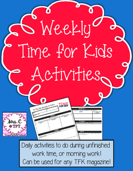 Weekly Time for Kids Magazine Activities (to use with any magazine)
