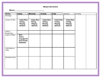 Weekly To Do Checklist