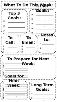 Weekly To Do List-Editable
