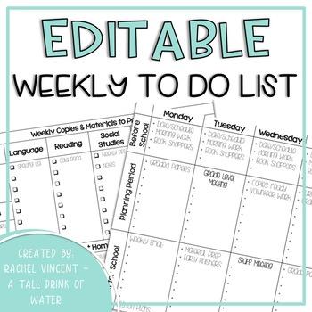 Weekly To Do List - Editable