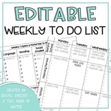 Weekly To Do List - Editable