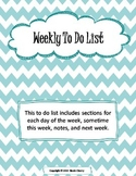 Weekly To Do List Including section for this week, next week, and notes