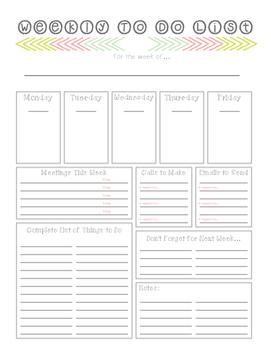 Weekly To Do List Printable