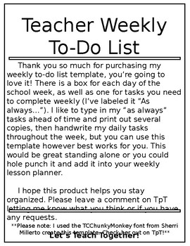 weekly to do list template editable by let s teach together tpt
