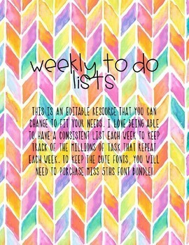 Weekly To Do Lists