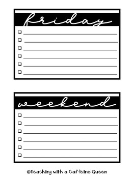 Weekly To Do Lists Editable Templates