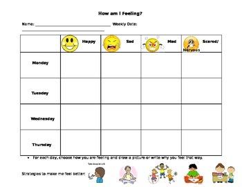 Weekly Tracker for Daily Feelings in School