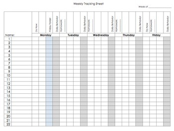 Weekly Tracking Sheet - Custom Edit
