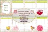 Weekly Undated Calendar PDF and Printables