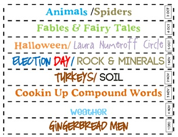 Weekly Units Binder Spine Labels