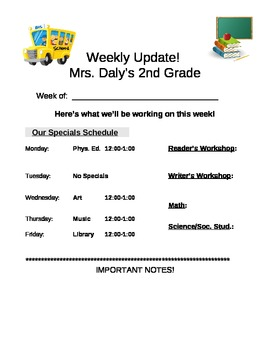 Weekly Update/ Parent Communication