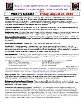 weekly update templates