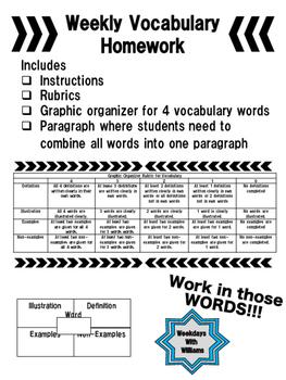 Weekly Vocabulary Homework