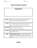 Weekly Vocabulary Homework Template