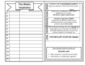 Weekly Vocabulary Journal