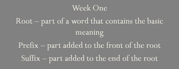 Weekly Vocabulary Lesson - week 1