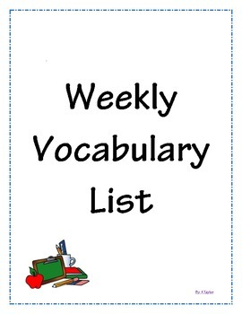 Weekly Vocabulary List