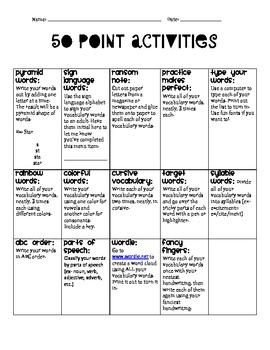 Weekly Vocabulary Menu Homework