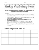 Weekly Vocabulary Menu Homework
