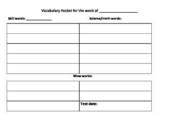 Weekly Vocabulary Packet