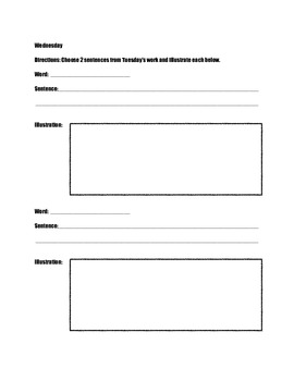 Weekly Vocabulary Packet Template