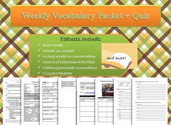 Weekly Vocabulary Packet and Quiz