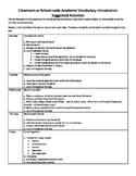 Weekly Vocabulary Plan
