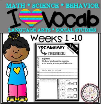 Weekly Vocabulary Practice Weeks 1-10 2nd Grade