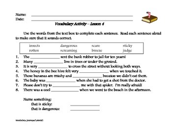 Weekly Vocabulary Review - Journeys Program