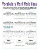 Weekly Vocabulary Word Work Menu