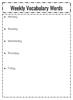 Weekly Vocabulary Words Sheet Template