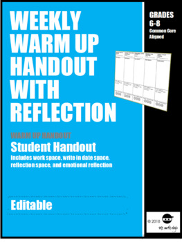 Weekly Warm Up Handout with Daily Reflection