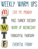 Weekly Warm Up Schedule
