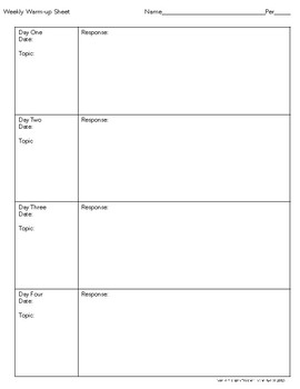 Weekly Warm-Up Sheet for Students-Graphic Organizer
