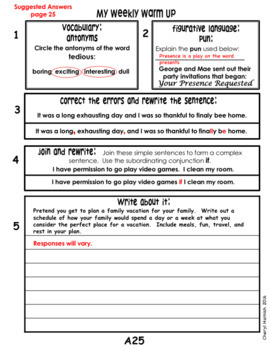 Weekly Warm Up for Middle School Language Arts - Editable!