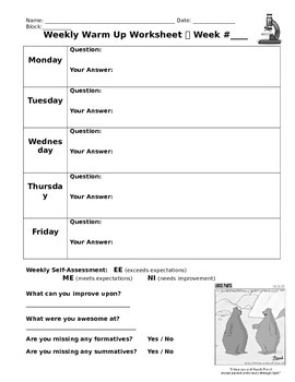 Weekly Warm Up/Question of the Day Worksheet