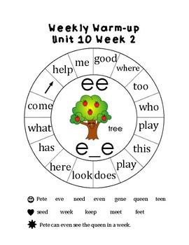 Kindergarten Reading Weekly Warm-Ups Unit 10