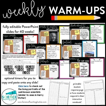 Weekly Warm Ups for the School Year