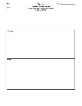 Weekly Warm up Template