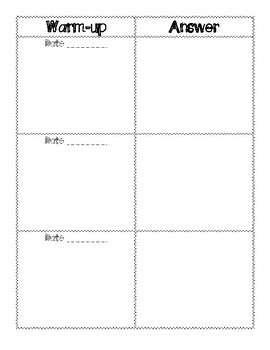 Weekly Warm-up Template