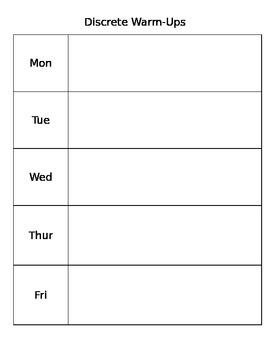 Weekly WarmUp Sheet