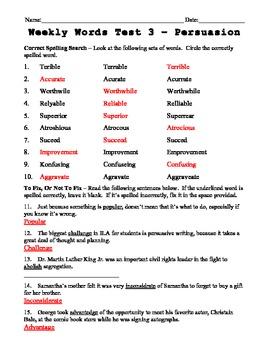 Weekly Word List 3 - Persuasion 2