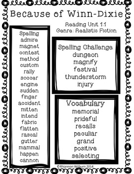 Weekly Word Lists Unit 1