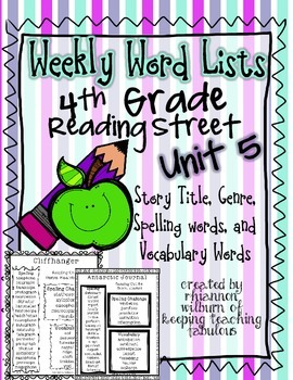 Weekly Word Lists Unit 5