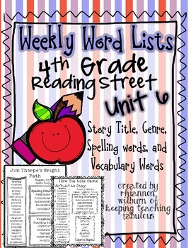 Weekly Word Lists Unit 6