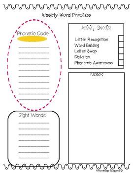 Weekly Word Practice Planning Sheet
