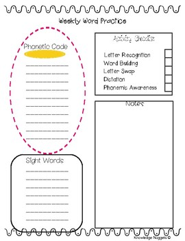 Weekly Word Practice Planning Sheet