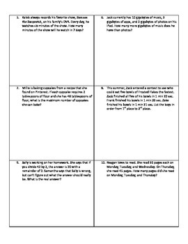 Weekly Word Problems #1  -  Revised TEKS