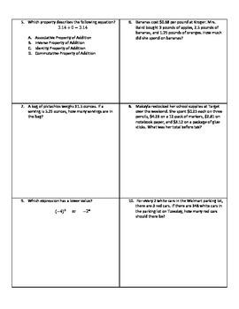 Weekly Word Problems #18 - Revised TEKS