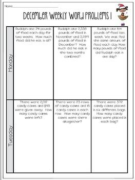 Weekly Word Problems {4th Grade Bundle}
